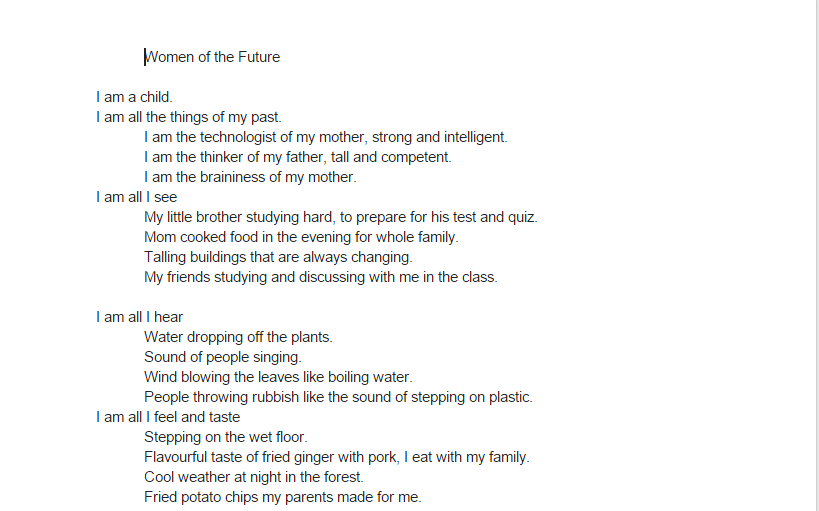 Women of the Future poem – Chanmalika
